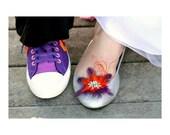 Shoe Clips Purple Black Orange & Rhinestone. Statement Bridal Bride Bridesmaid, Gossip Girl Brooches, Lady Woman Mother Mom Day Floral Gift