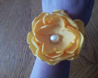 Yellow Flower Corsage / Yellow Wristlet / Yellow Wedding Bracelet / bright yellow mother of the bride corsage