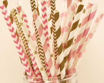 Paper Straws, 25 Pink & Gold Paper Straws, Blush, Pink and Gold Straw Baby Shower, Pink and Gold Birthday, Gold Weddings, First Birthday,