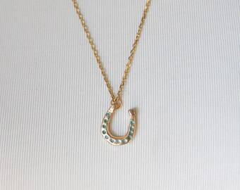 Bronze Horse Shoe Necklace with Green Accents