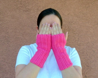 Bright Pink Fingerless Gloves for Women - Crochet Fingerless Gloves, Arm Warmers, Wrist Warmers, Fingerless Mittens, Mitts in Hot Pink Neon