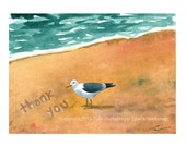 Beach Seagull Watercolor Print Thankyou Card Funny Seagull Bird Greeting Card - Blank Thank You Card - Thank You Note Card - Beach Card