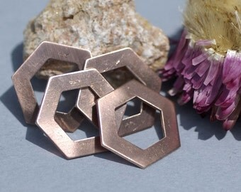 Copper Hexagon  20g 20mm Blanks Cutout for Enameling Stamping Texturing Metalworking Blank