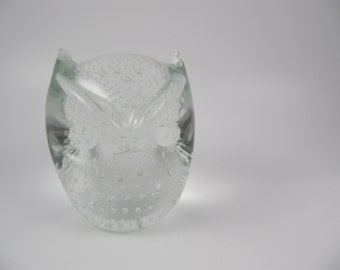 Vintage Murano Owl Figurine Art Glass Bubbles MCM Clear 1960s 60s Paperweight Bullicante