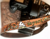 Leather Camera Strap - Woodland Theme - Personalized with name or short text - Hand painted and tooled - Made to Order by Mesa Dreams