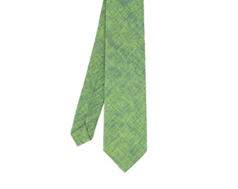 Ben - Green/Blue Texture Linen Men's Tie