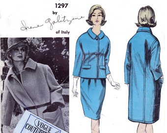 GALITZINE Vogue Couturier Design 1297 Skirt Suit & Overcoat Original 1960s Vintage Sewing Pattern Size 14 Bust 34 Inches INCLUDES LABEL