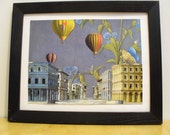 Hot Air Balloons in Blue Sky Paper Collage Art