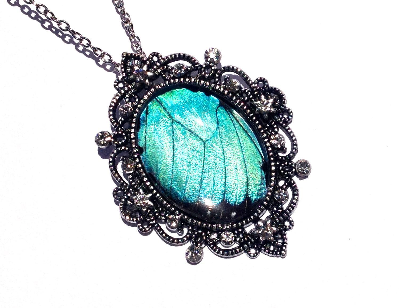 Blue Butterfly Jewelry: Great Gatsby Jewelry REAL BUTTERFLY WING Blue Morpho Vampire