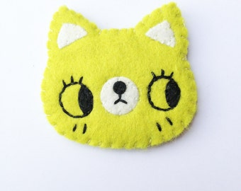 Hipster Cat- Cat Brooch-Animal Brooch-Felt Cat-Lime Green Cat Brooch