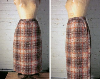 Vintage 1960s Plaid Wool Pencil Wiggle Skirt, Mid-Calf Length, Size 28 Inch Waist, Brown and Rust Plaid Wool, Mad Men Style Pencil Skirt