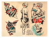 SALE: Vintage Foodie, Baking Flapper, Tattoo Flash Print