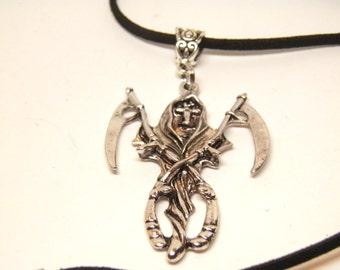 Grim Reaper Necklace, Anarchy Jewelry, Dark Angel Necklace, Grim Reaper Jewelry, Skull Jewelry, Goth Biker Necklace, Skull Halloween Jewelry
