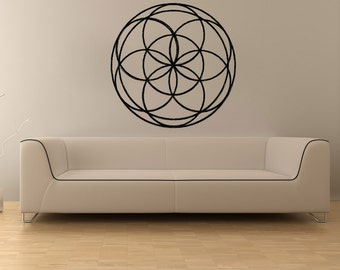 Vinyl Wall Decal Sticker Stained Glass Flower OSMB1030m