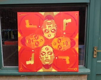 Painting of 4 womens faces guns skin deep series russian roulette stencil art spray paint canvas red yellow orange pop art abstract,urban