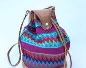Colorful Navajo style Bucket Bag