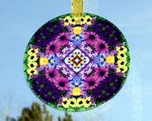 Purple Daisy Glass Suncatcher Sacred Geometry Boho Chic Mandala  Hippie Kaleidoscope Unique Gift For Her Mod Gypsy Flower Mystical Musing