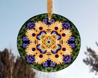 Daisy Glass Suncatcher Boho Chic Mandala New Age Sacred Geometry Hippie Kaleidoscope Unique Gift Mod Gypsy Flower Child Sunny Splendor