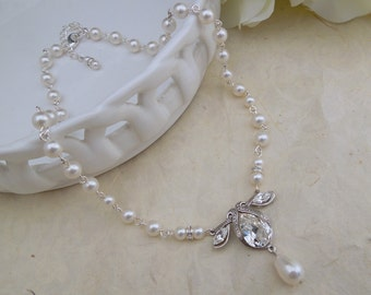 Pearl Wedding Rhinestone Necklace,Pearl Necklace,Ivory or White Pearls, Pearl Crystal Necklace,Statement Bridal Necklace,Pearl,Bride,NORA