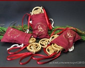 Celtic Christmas Ornaments (Set of 3 ) in White Ash with red ribbons and custom made storage pouch.
