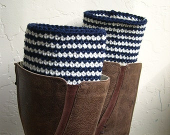 Striped Boot cuffs - Ivory Navy Blue Boot Toppers - Beige Marine Blue leg warmers - Striped legwarmers - Winter Fashion
