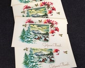 Joyeux Noel. Vintage Holidays French Merry Christmas cards. Set of five.