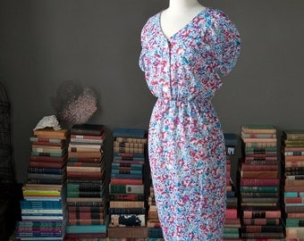 Vintage 80s tulip sleeve FLORAL print summer DAY DRESS / bombshell dress / 80s 1980s does 40s 1940s
