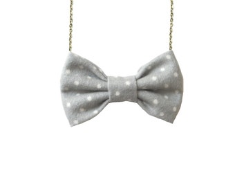 Grey Polka Dot Flannel ,  Bow Tie Necklace, Gray White Dots Women Bowtie