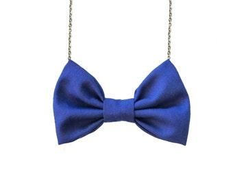 Ultramarine Blue Bow Tie Necklace , Casual Women Bowtie Dark Blue