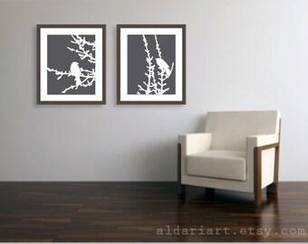 Birds On Branches Set of Two Art Prints - 16x20 - Modern Birds Wall Art - Large Prints - Birds Spring Decor - Charcoal Dark Grey