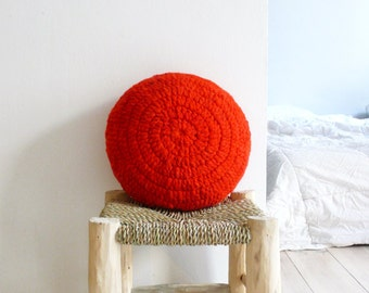 Round Pillow Crochet Wool - by hand dyed in red