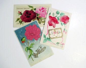 Antique Birthday Flocked Flower Postcards, Set of 3, Happy Birthday & Best Wishes Greeting Cards
