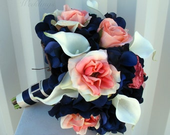 Wedding bouquet, coral navy bouquet, calla lily rose bridal bouquet, Silk wedding flowers