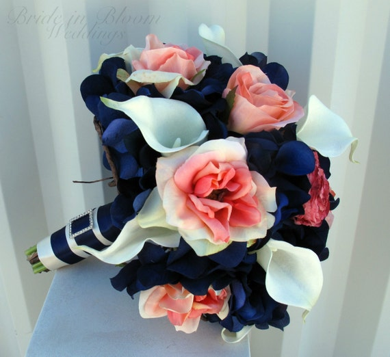 Wedding bouquet coral navy white calla lily rose bridal bouquets, Silk wedding flowers