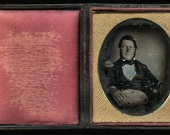 Early c1845 Philadelphia Daguerreotype - Important Man with Cowboy Hat & Book