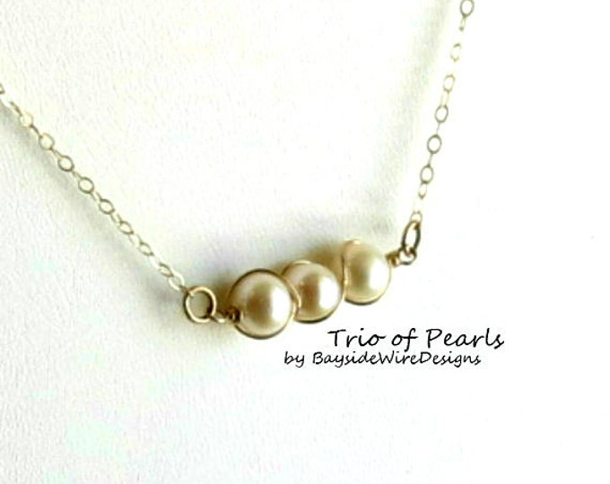 Pearl Necklace, Delicate, Gold Filled, Pearl Necklace, Antique, Wedding, Bridesmaid, Delicate Jewelry