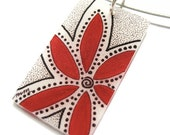 flower illustration necklace - modern jewelry  - red - shrinky dink pendant - made to order