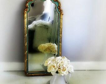 T E A L ...Gold Mirror Vanity Powder Room