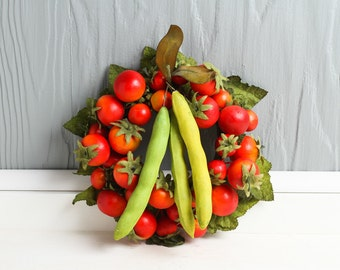 Vintage unique millinery, spun cotton realstic cherry tomatoes and pea pod wreath, farm stand, fruit and vegetables