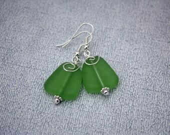 Green Sea Glass Earrings, Seaglass Earrings, Sea Glass Jewelry, Beach Glass Earrings, Beach Glass Jewelry Beach Jewelry Seaglass Jewelry 080