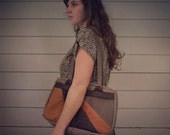 OOAK- hand stitched pieced leather purse in warm autumn colors