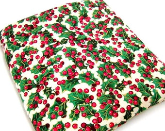 Holly Printed Fabric, Cranston Print Works, Christmas Craft Supplies, Quilting Notions, 1 yd Cotton Fabric
