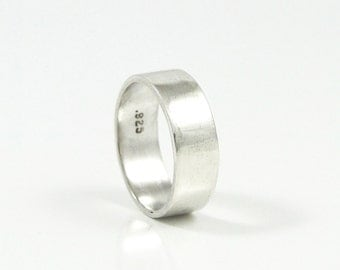 Sterling Silver Wedding Band for Men - 6mm Wide Sterling Silver Ring for Men or Women - Classic Wedding Ring