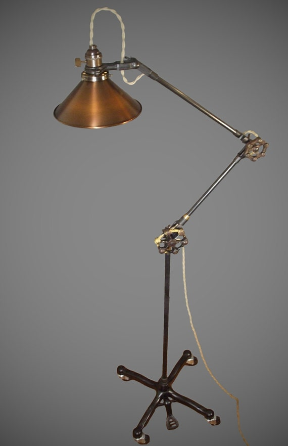 vintage industrial floor lamp machine age task light cast iron. Black Bedroom Furniture Sets. Home Design Ideas