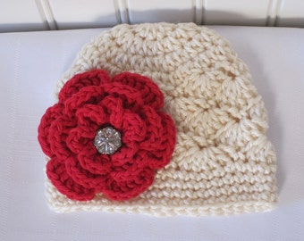 Baby Hat - Girls Hat - Crochet Hat - Toddler Hat - Newborn Hat - Off White (Cream) Red Flower Hat - sizes Newborn to 3 Years
