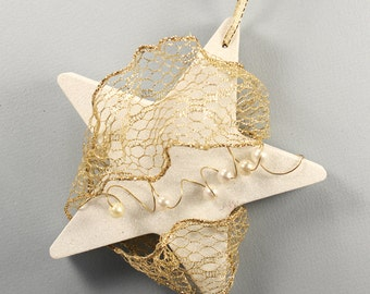 White Glitter Star Ornament, Gold Mesh, Gold Wire, White Pearl Beads