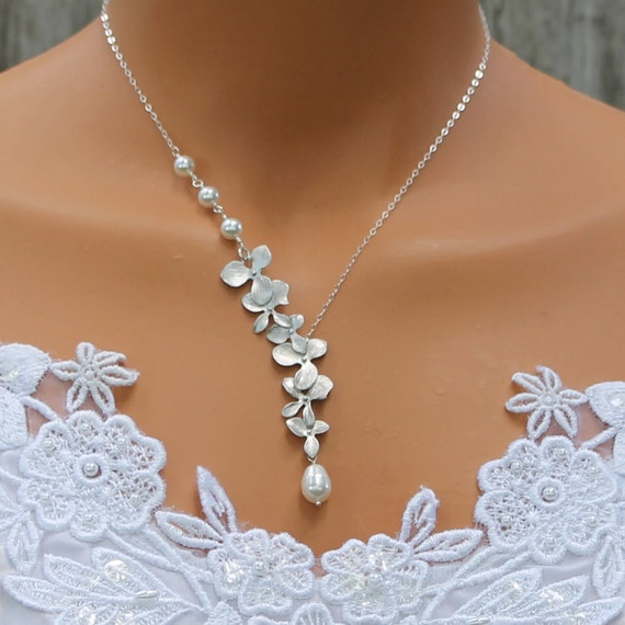 Orchid Necklace Pearl Necklace Silver Orchids Wedding Jewelry Bridesmaids Necklace Bridesmaid Gift Pearl Wedding Jewelry Bridal Jewelry
