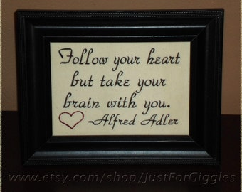 """Good Advice """"Heart & Brain""""  Alfred Adler quote,  5x7inch Framed Embroidery- adjustable in color"""