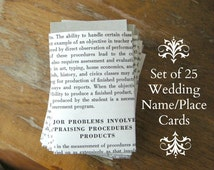 Handmade VINTAGE Book Page Envelopes w/ Sage Green Card Inserts Set of 25 / Delicate Bookish Wedding Name Place or Escort Cards