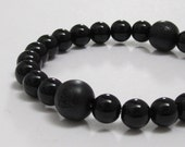 Mens Beaded Bracelet, Men Jewelry, Men Wood Bead Bracelet, Mens Mala Beads, Sandalwood Bead, Onyx Chakra Bracelet, Buddhist Lotus Prayer